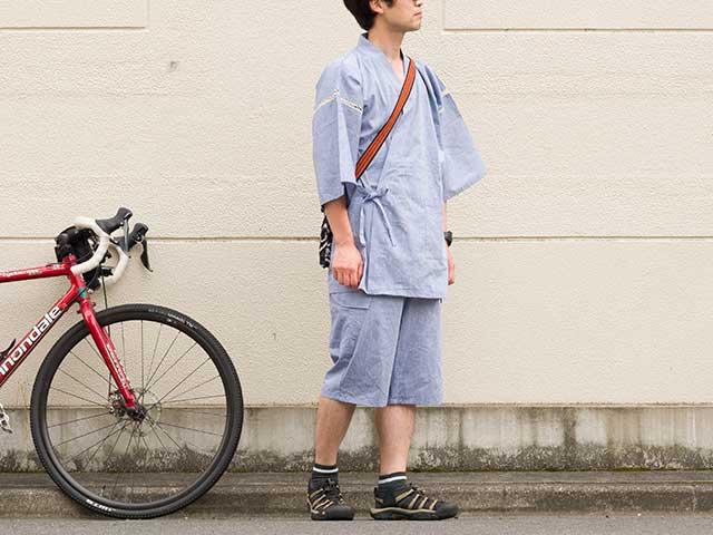 【THE JINBEI】甚平 吸汗速乾・接触冷感 Coolmax 背ポケット アウトドア 自転車 サイクリング 上下セット日本製 No.2185