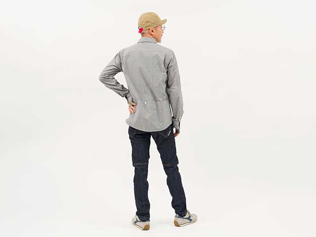 【プロツアラーシャツ】高耐久性 吸汗速乾に優れたトラベルシャツ コーデュラ 背ポケット 長袖 日本製 No2200